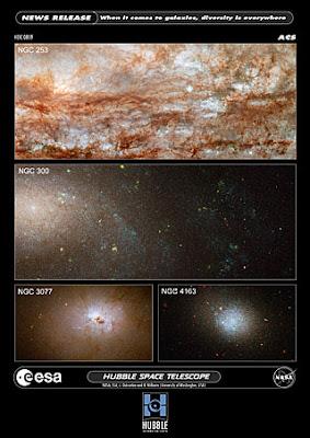 Composición de imagen por Hubble de galaxias del estudio ANGST