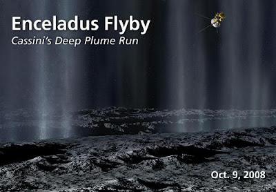 Ilustración del Sobrevuelo de Cassini sobre Encélado