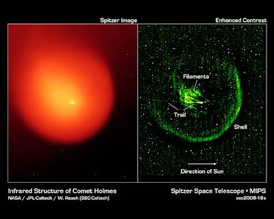 Cometa 17P/Holmes observado por Spitzer