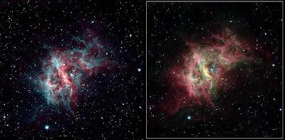 RCW 49 por Spitzer. A la izquierda, la nueva imagen de dos canales, al lado la original de 4 canales