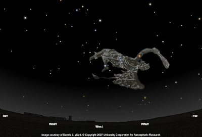 Constelación de Orión dibujada