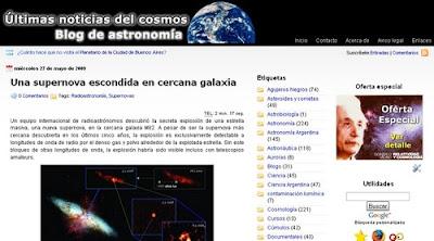 Captura de pantalla del blog Últimas noticias del cosmos