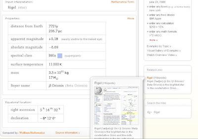 Rigel en Wolfram Alpha