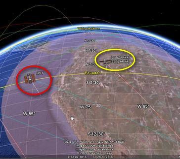Hubble e ISS en Google Sky