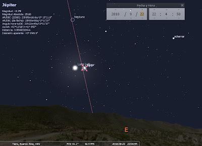 Júpiter y la Luna llena 22/09 desde Buenos Aires