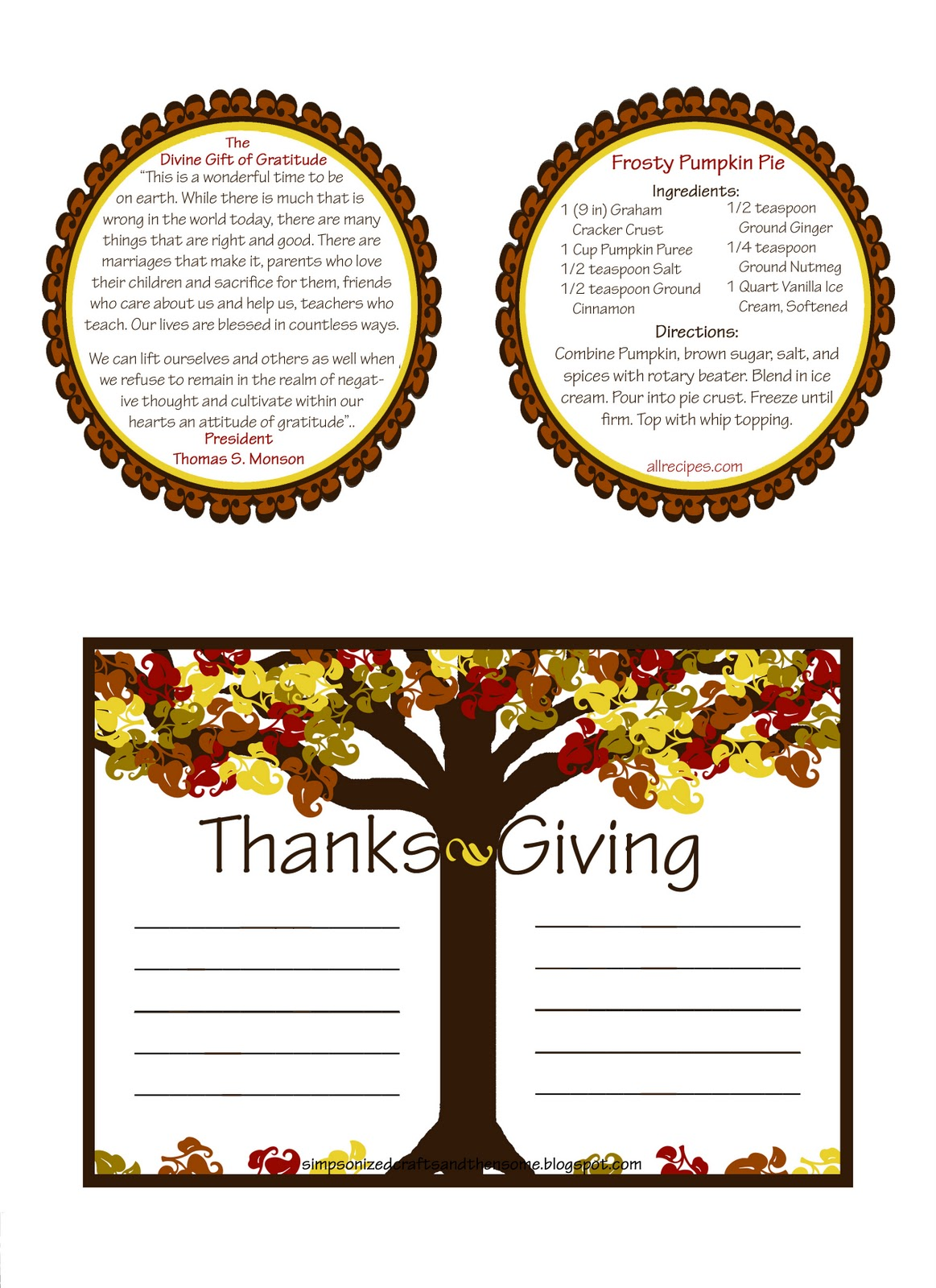 SIMPSONIZED CRAFTS: Printable Handout For November Visiting ...