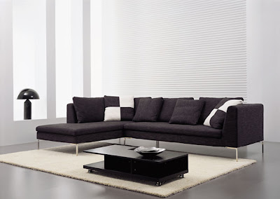 Long and Simple Modern Sofa Interior Furniture