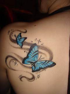blue buterfly tattoos body woman - tattoos design buterfly style,buterfly tattoos design
