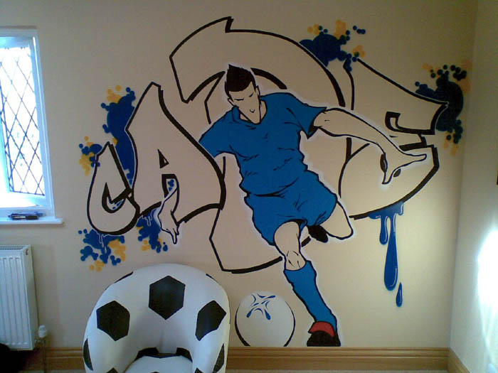 Graffiti graffiti football wall bedroom tags wall street Painting graffiti on bedroom walls