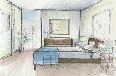 interior design drawings sketches bedroom