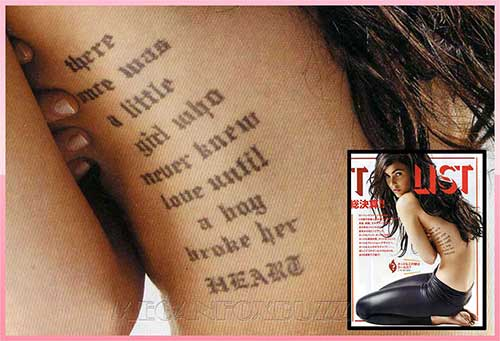 letters tattoo. megan fox rib tattoo