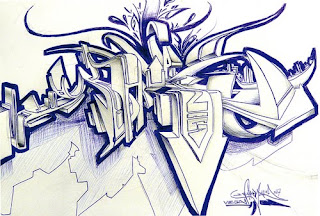 Blue White Wildstyle Graffiti Sketches