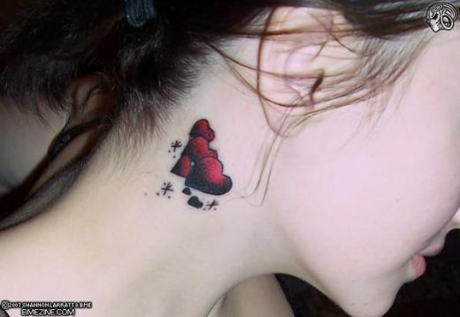 Neck Tattoos, flowers neck tattoo, Butterfly neck tattoo, Star neck tattoo