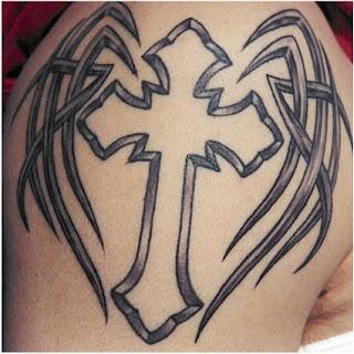 winged tribal tattoos crosses design