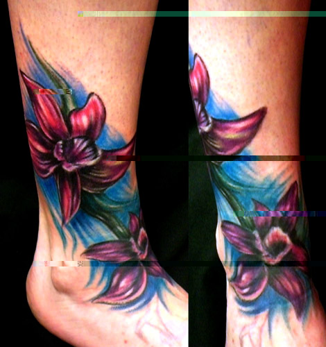 "Foot Tattoos Flowers "" Design For Women """