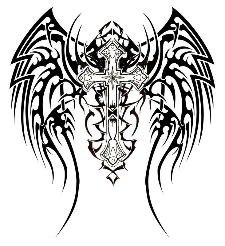 Tribal Tattoos Cross and Tiger Design Ideas