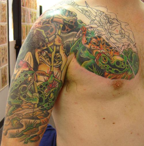 Frog Tattoos Flower Dragon Fish Tattoos Design On Arm For Men
