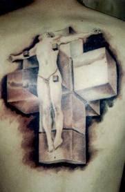 3d cross tattoo design ideas on back body
