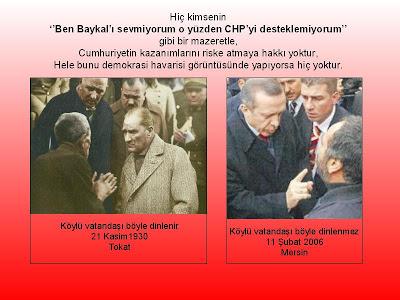 Hiç kimsenin ''Ben Baykal'ı sevmiyorum o yüzden CHP'yi desteklemiyorum'' gibi bir mazeretle, Cumhuriyetin kazanımlarını riske atmaya hakkı yoktur, Hele bunu demokrasi havarisi görüntüsünde yapıyorsa hiç yoktur.