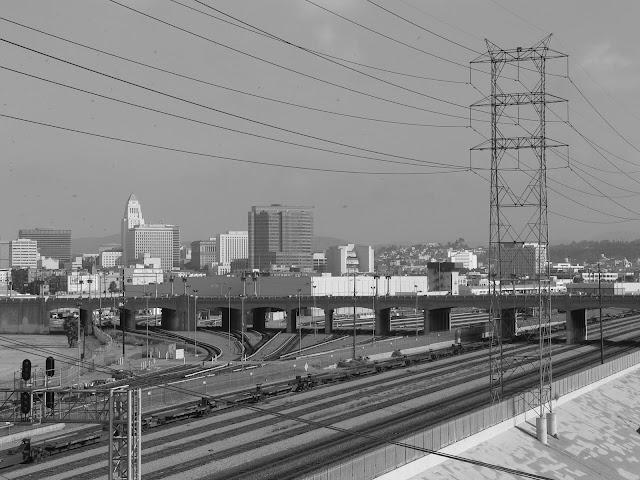downtown los angeles train tracks union station power lines 6th street bridge