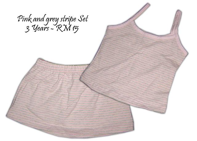 Pink and grey stripe Set