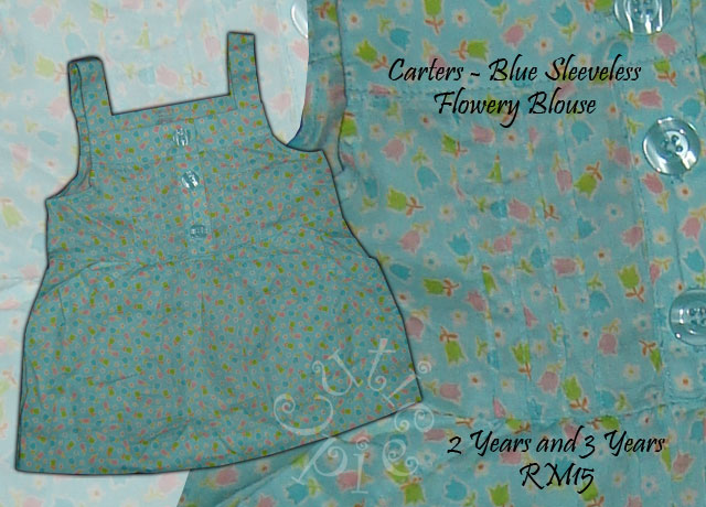Carters Blue Sleeveless Flowery Print Blouse
