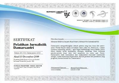 sertifikat pelatihan jurnalistik