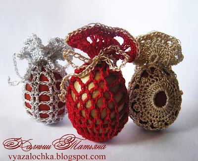 яйца с помощью вязания.