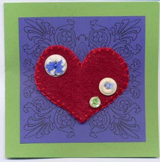 felted heart card