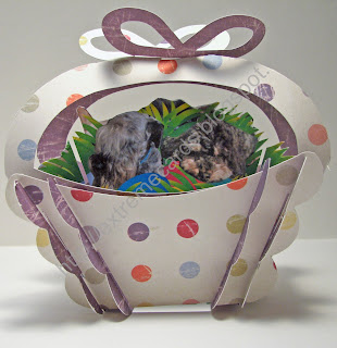 sliceform easter basket with dogs