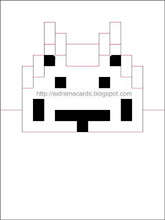 8 bit space invaders pop up card