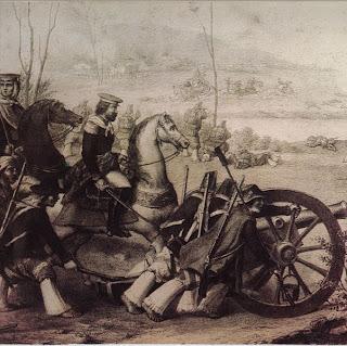 detalle de 'La Batalla de Suipacha', obra del ing.Nicolás Grondona (c.1860), en el Museo Histórico Nacional. Tomado de wikipedia