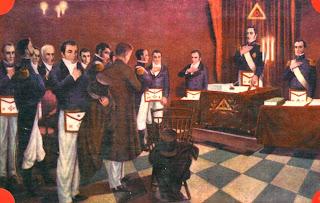 La Logia Lautaro inicia una solemne tenida. Autor anónimo. Obra exhibida en un salón del Gran Oriente Federal Argentino.Tomada de Emilio J.Corbiere 'La Masonería'