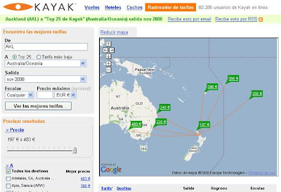 Captura del rastreador de tarifas de Kayak: vuelos desde Auckland hacia Australia y Oceanía