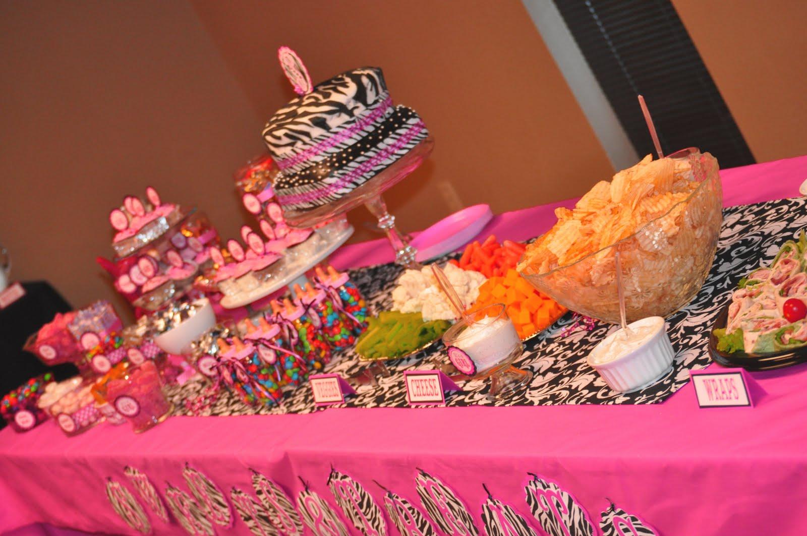 Pink zebra baby shower
