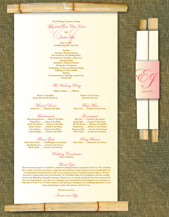 This bamboo scroll program will be perfect for any tropical wedding