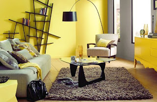 yellow and grey living room @ Chasing Davies