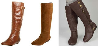 Tall Knee High Walking Boots in Brown