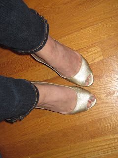 Gianni Bini Gold Peep-toe heels @ Chasing Davies