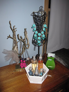 Jewelry displays in bedroom