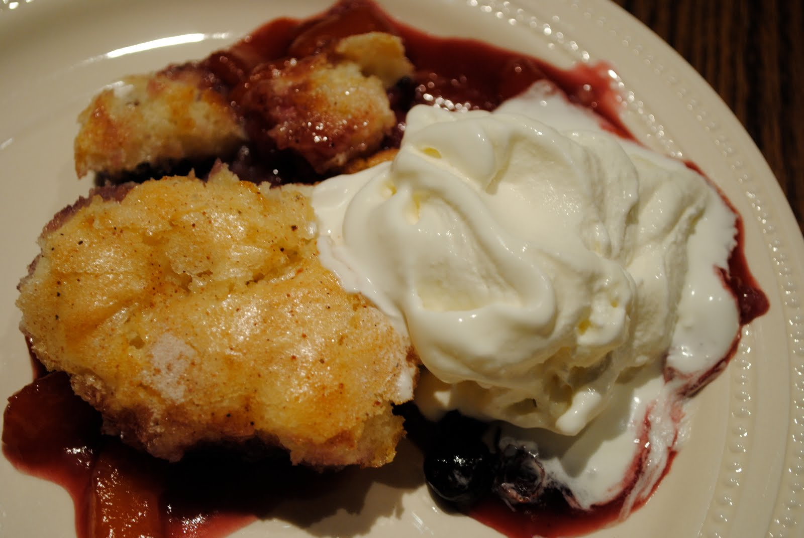 Peach Blueberry Cobbler with Homemade Vanilla Ice Cream