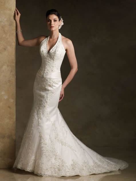 Wedding dress wedding gown design modern wedding dress design for Mermaid halter wedding dresses