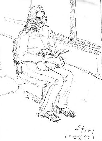 GIRL READING A BOOK AT TALLINN BUS TERMINAL,SKETCHING BY PEN,2009 ESTONIA