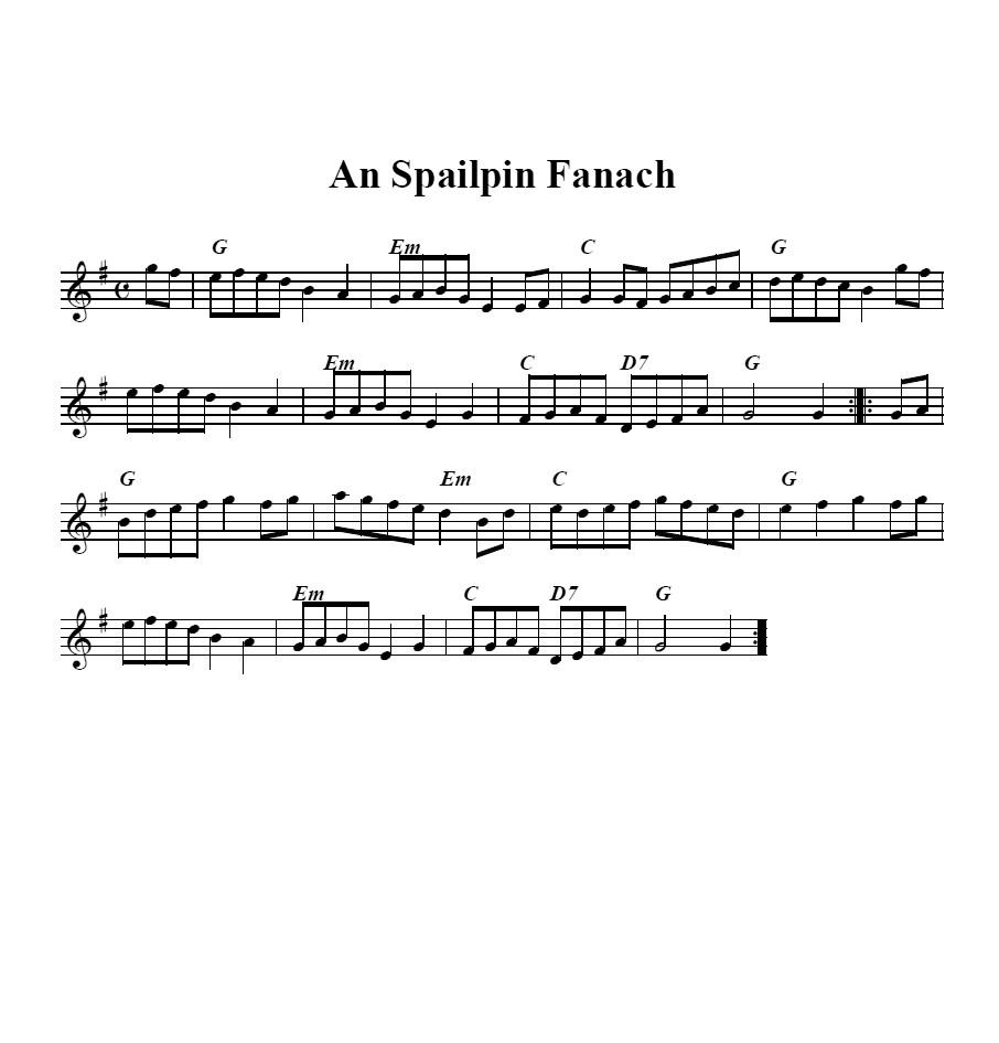 Bollywood Sheet Music September 2011: Bouzouki GDAE: An Spailpin Fanach