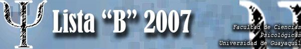 """Lista """"B"""" 2007 Psicología"""