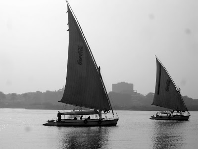 Pictures of boats on the river Nile in Cairo, Egypt.