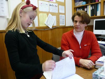 north mianus school principal bonnie butera is visited by third grader kara