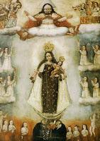 Notre Dame du Mont Carmel délivrant les âmes du purgatoire. Celles qui ont été délivrés sont autour d'elle, vêtues de blanc. Epoque coloniale, Pérou