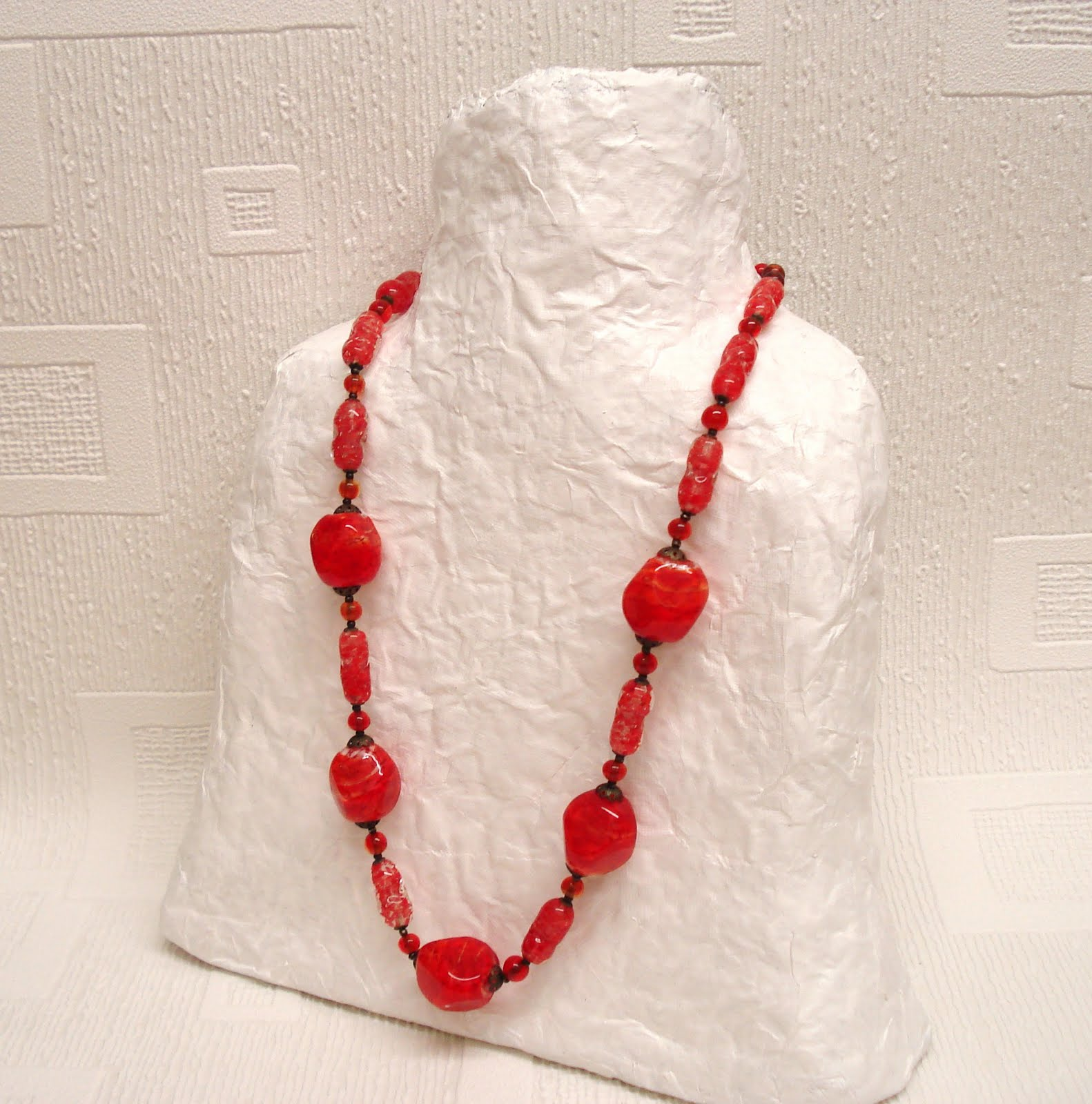 Recycled paper jewellery display julietk for How to make paper mache jewelry