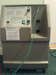 An oxygen concentrator in an emphysema patient's house